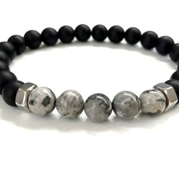Men's Beaded Bracelet. Stretch Bracelet. Elastic Bracelet. Black Onyx, Gray Jasper Stone Bracelet. Gemstone Jewelry Gift for Men.
