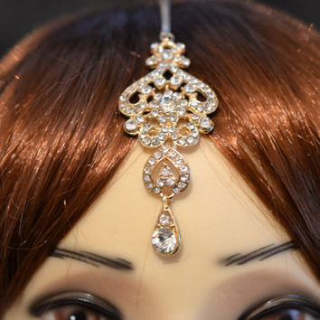 Gold Crystal Indian Matha Patti Tikka Head Chain Jewelry Bridal Wedding Prom