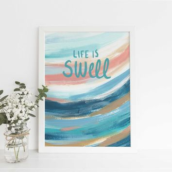 That's Swell Coastal Surfer Quote Painting Wall Art Print
