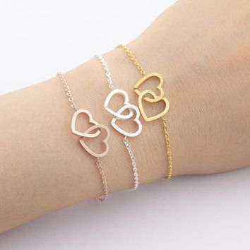 "Friendship Bracelets Silver Double-Heart ""Together Forever"" Bangle Bracelet Women  Beach Jewelry"