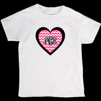 Valentines Day Chevron Heart Monogram Personalized Onesuit or Kid's T-Shirt - Two Color