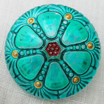 One 27mm Czech glass button, blue green hand painted wheel pattern with red & gold accents , decorative shank buttons C59201