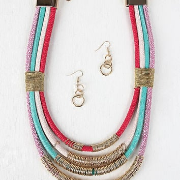 Colorful Strand Ring Accent Necklace