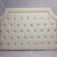 Tufted Upholstered Headboard with Nailheads