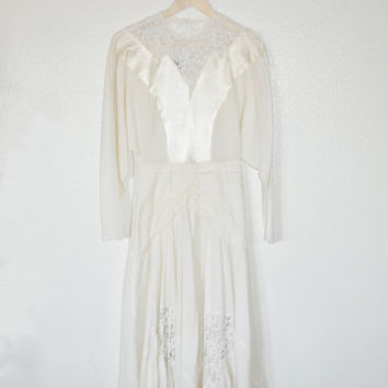 L1-7 Vintage 70s 80s Off White Jon Wesly Cotton Satin Lace Beaded Casual Hippie Bohemian Rustic Wedding Dress sz Medium