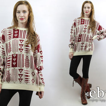 Oversized Knit Oversized Sweater Oversized Jumper Southwestern Sweater 90s Sweater Gitano Sweater Men's Sweater Chunky Sweater Cream Sweater