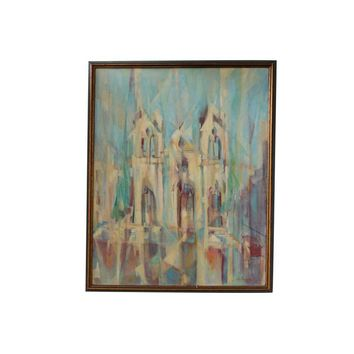 Pre-owned Vintage Lou Hazam Cubist Cathedral Painting