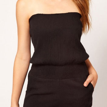 Black Elastic Low Waist Bandeau Playsuit