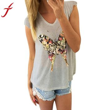 2017 New Arrival Women Sequined Butterfly V Neck Sleeveless Casual Tee Shirt Tank Tops Beading Blusa Print Fitness Tank Top