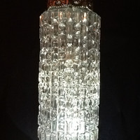 Vintage Mid Century Long Crystal Pendant Hanging Light Fixture (1 of 2)