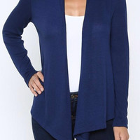 Solid Knit Cardigan - Navy