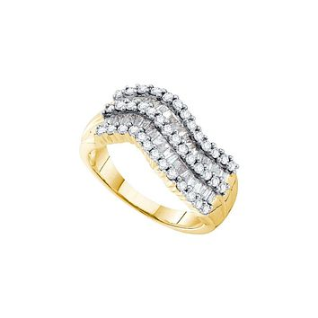 14kt Yellow Gold Womens Baguette Round Diamond Triple Row Contoured Band Ring 1.00 Cttw