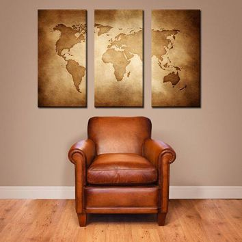 Vintage World Map   Extra Large Canvas Wall Art