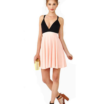 Pink Chiffon Deep V Neck Cross Back Slip Dress