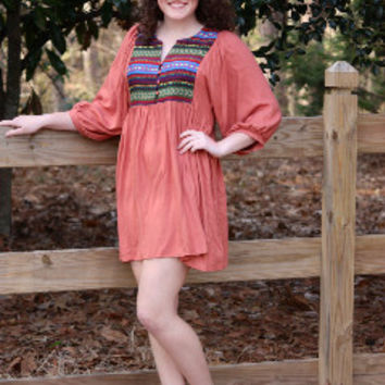Rust Boho Tunic/Dress