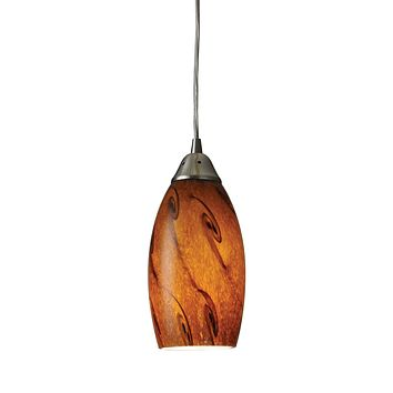 20001/1BG-LED Galaxy 1 Light LED Pendant In Brown And Satin Nickel - Free Shipping!