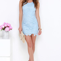 Fluent in Anglaise Light Blue Lace Dress