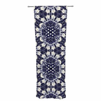 "Nina May ""Indigo Clematis"" Blue White Mixed Media Decorative Sheer Curtain"
