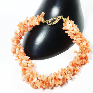 Orange Coral Chip Stretch Bracelet, Vintage 1990s Tropical Beach Jewelry, Interlocking Coral Strands in Rope Twist Designed