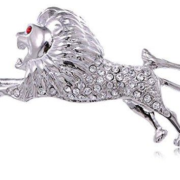 Alilang Silvery Color Crystal Rhinestone Running Preying Lion Red Eye Leaping Brooch Pin