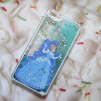 Cinderella Liquid Blue Glitter iPhone 6s 6 Plus Case