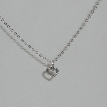 Open heart necklace tiny heart necklace sterling silver necklace small heart necklace silver charm necklace dainty heart necklace