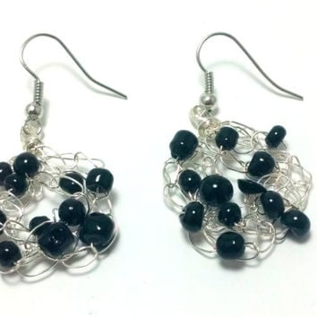 FREE SHIPPING Wire crochet earrings with glass beads: Black night