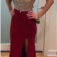 Sparkly New Real Burgundy Prom Dresses 2015 Backless Slits Out Sexy Evening Gown Crystal Beaded Formal Abendkleider Party Dress