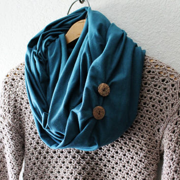 Infinity scarf, circle scarf, eternity scarf, loop scarf, tube scarf, retro, jersey knit, Peacock Blue, Chucky Scarf, Fall Trend