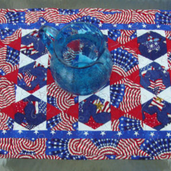 Patriotic quilted Table Runner Red White and Blue Memorial Day 4th of July