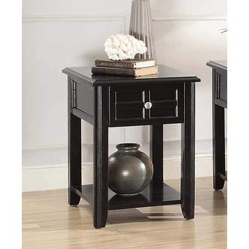 Wooden Chairside Table With Open Bottom Shelf, Espresso Brown