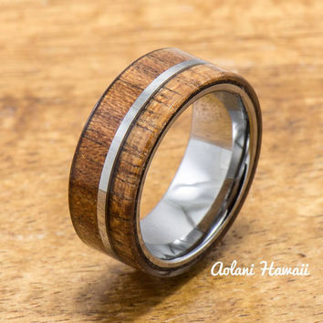Koa Ring Handmade with Tungsten (8mm width, flat style)