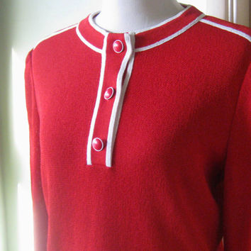 Medium Red Pullover; White Racing Stripe Trim - Vintage Red Mod Sweater Jacket - White Trim Woven Red Topd