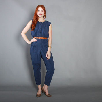 80s NAVY Blue Cotton JUMPSUIT / 1980s Slouchy Sleeveless Romper