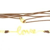 """Love"" with zirconia on Vermeil Necklace/Bracelet brown Thread."