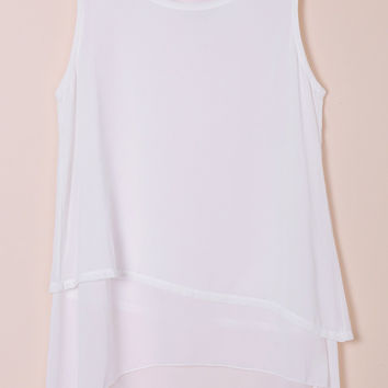 Solid Color Faux Twinset Design Chiffon Tank Top