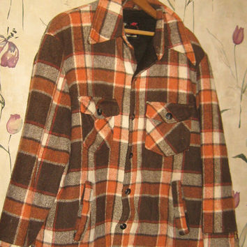 vintage 60s CPO   brown   plaid  pile lined  JACKET  size 44