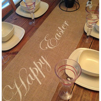 "Burlap Table Runner 12"", 14"", or 15"" wide with Happy Easter"