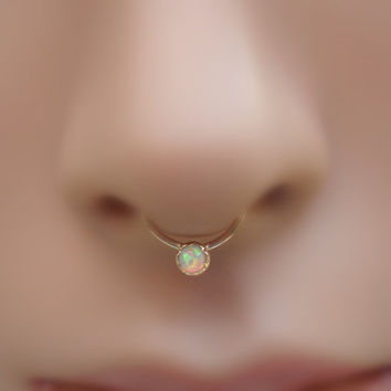 White Opal Septum Ring/Nose ring 14K Yellow Gold Filled Handcrafted