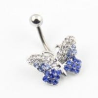 316l Stainless Steel 14g Blue Gems Butterfly Bead Navel Ring Belly Barbell Body Piercing