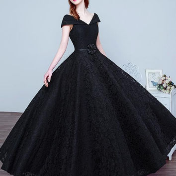 P6171 V Neck Cap Sleeve Elegant Black Evening Prom Dresses Satin Corset Wedding Bridal Gowns robe longue femme islamique