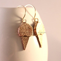 Ice-Cream Cone Dangle Earrings/ Yellow Bronze Ice-Cream Cone/ Goldfilled Ear Hoops