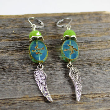Silver angel wing earrings czech glass earrings Sparrow jewelry Sparrow earrings leverback earrings blue and green earrings Picasso beads
