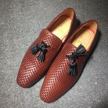 KUYOU Christian Louboutin Oxford CL fashion casual shoes red sole for men and women jeans 90523