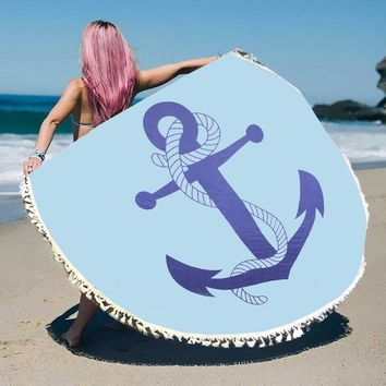 Anchor Round Beach Terry Towel