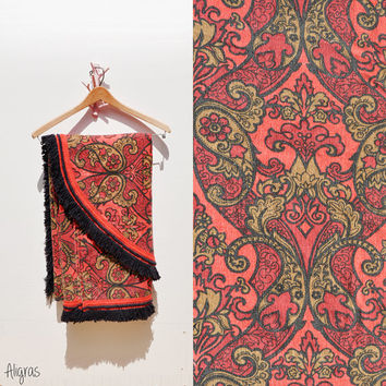 Vintage Fringed Bedspread Coverlet // Red Black Gold // Jacquard // 1970s Twin • Full • Double // Bohemian Indian Bedspread