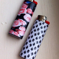 White Marijuana Leaf Custom Lighter