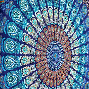 Hippie Mandala Tapestry, Hippie Tapestries, Wall Tapestries, Tapestry Wall Hanging, Indian Tapestry, Bohemian Bedding Psychedelic Tapestry Large Queen Size 90 X 85 Inch's