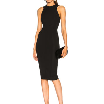 Victoria Beckham Racerback Fitted Midi Dress in Black | FWRD