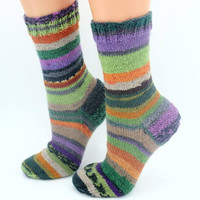 Cozy OOAK colorful hand knitted wool socks warm autumn spring colors crew socks